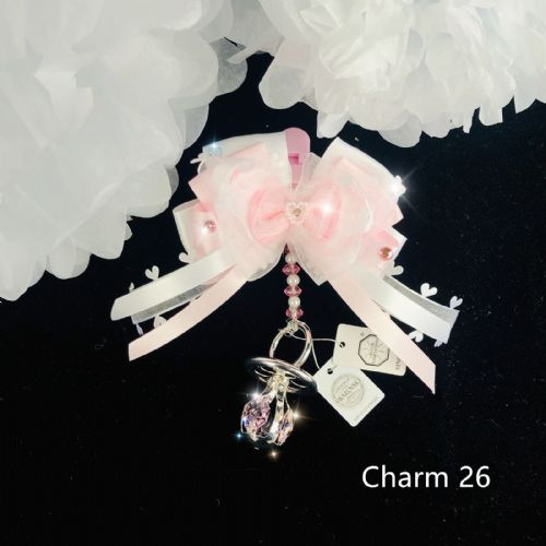 Stunning Hand Craft Pram Charm/Pink Bow and Crystal Dummy/swarovski elements